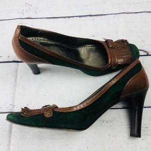 J. Crew green brown leather tassel